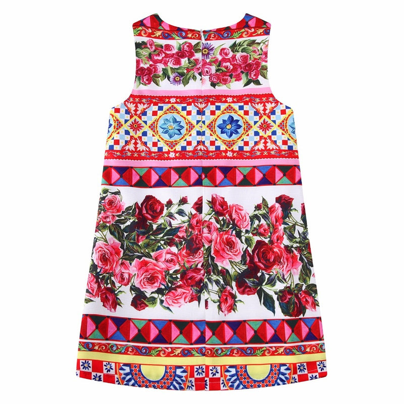 Vestido Princesa Girls Dress Summer Brand Kids Dresses for Girls Clothes Rose Flower Princess Dress Costumes