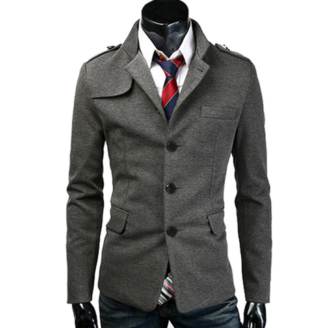 Short Black/Dark Grey Casacos De Frio Plus Size Men Stylish Slim Stand Collar Tops Trench Coat Outerwear  6082