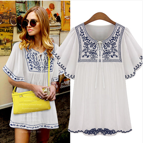 Free Shipping Plus Size Women Fashion Short Sleeve Round Neck Embroidered  Chiffon Boho Hippie Peasant Mexican Blouse