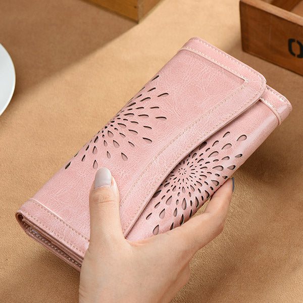 Retro Luxury sunflower hollow out Women's Genuine Cow Leather phone Wallet Card Holders Lady elegant Purse female long Clutches