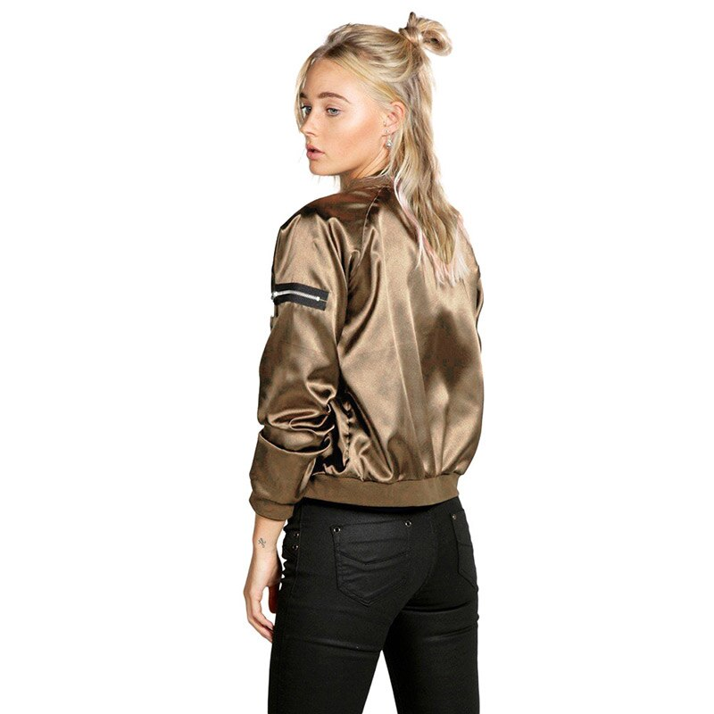 Spring Women Thin Jackets Tops Bomber Jacket Long Sleeve Zipper Up Coat Casual Slim Outerwear Female jacket
