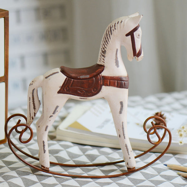 Northern Europe Trojan Figurines Home desktop decoration Wood iron Retro Rocking Horse Crafts Gifts