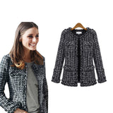 Women Fashion Coat autumn winter thin Black Checkered Tweed Casual Plaid Jacket Outerwear FS0273