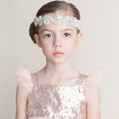 New Girls Princess Rhinestone Headbands Beautiful Crystal Kids Hair Accessories Wedding Jewelry Headwear Ribbon Hair Bands