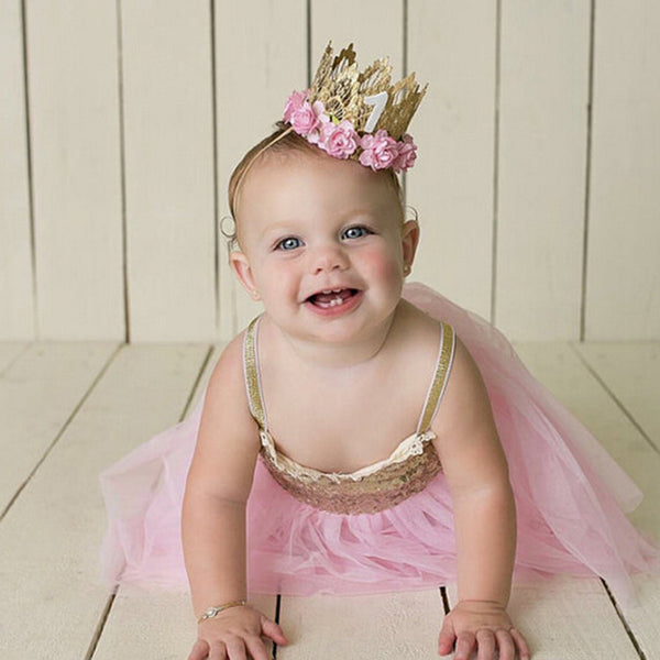 7 Colors Newborn Birthday Crown Headband Flower Lace Gold Tiara Headband for Kids Party Headwear Hair Band Accessories Gifts