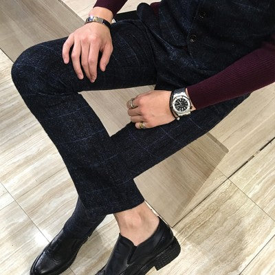 Winter Thick Suit Pants Men Slim Fit Fashion Plaid Dress Pants Plus Size Business Formal Wear Mens Trousers Party Pant 5XL-M Hot