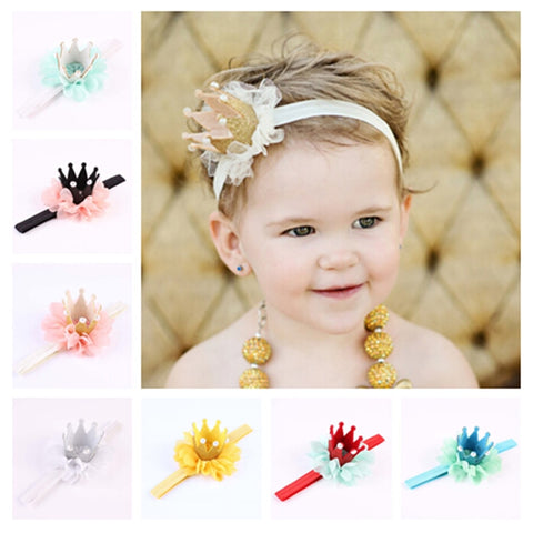 New Kids Girls Princess Queen Birthday Tiara Hairband Newborn Headband Crown Headwear Hair Band Accessories