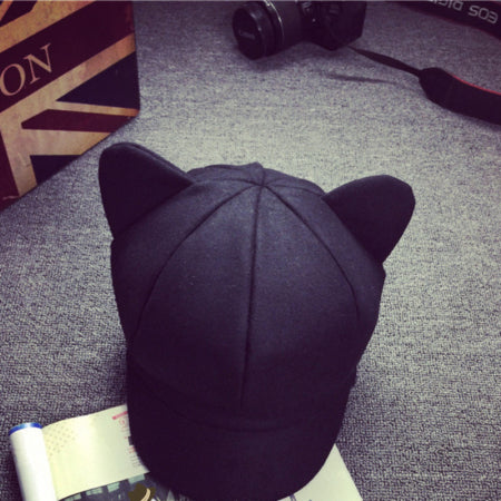 DT792 Korea Fashion Cat Ear Octagonal Cap for Women Solid Plain Woolen Felt Newsboy Cap Autumn Winter Artist Painter Beret Hat