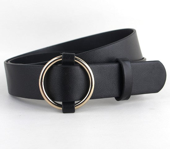 Newest Gold Round buckle belts female HOT leisure jeans wild belt without pin metal buckle brown leather black strap belt women