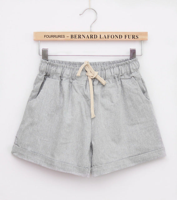 Summer Style Shorts Candy Color Elastic With Belt  Short Women