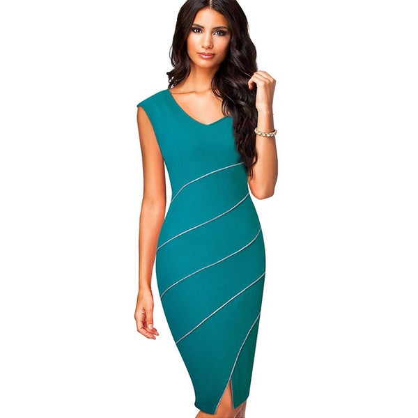 Casual Women Sheath Fitted Sleeveless Bodycon Pencil Dress Elegant Classic V Neck Split Summer Dress EB365