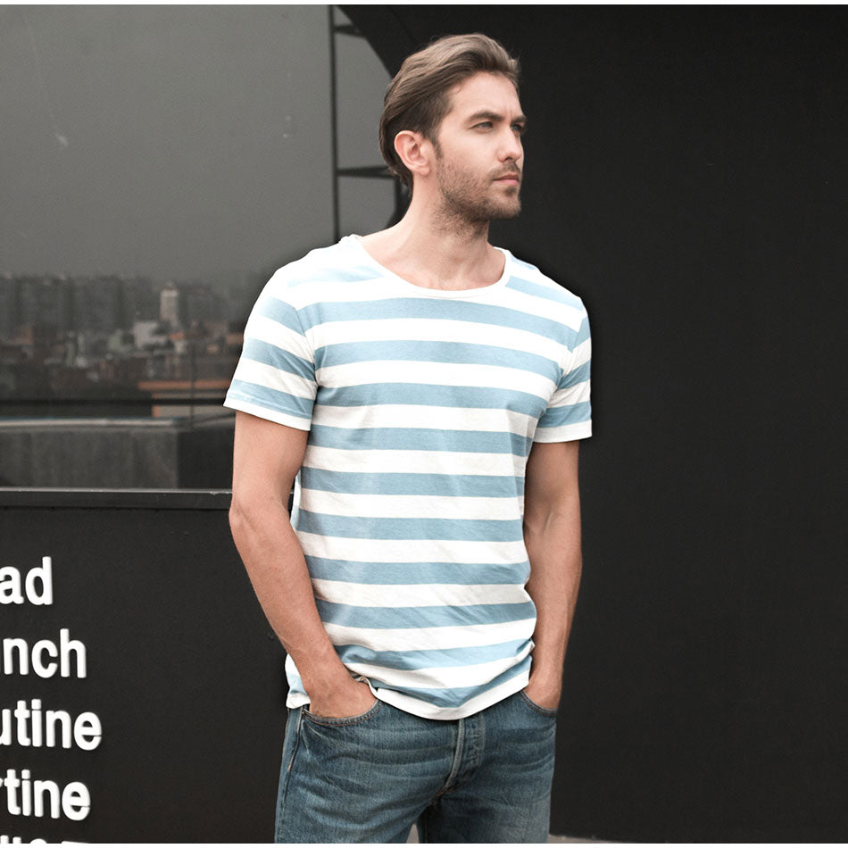 ffa58d96197 ... Navy Striped Sailor T-Shirt Men Summer Black And White Striped Loose T  Shirt Men ...