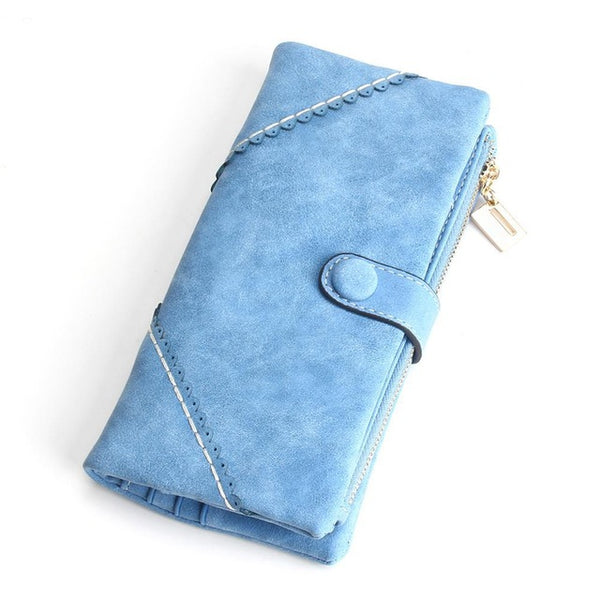 2017 New Women Wallets Coin Case Purse For Phone Card Wallet Leather Purse Ms Frosted Long Purse Vintage Buckles Lace Wallet