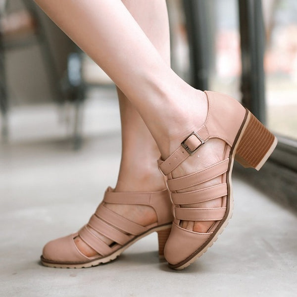 Autumn Vintage Women Shoes Pointed Toe Women Pumps Fashion Sweet Women High Heels Shoes Thick Heel Plus Size