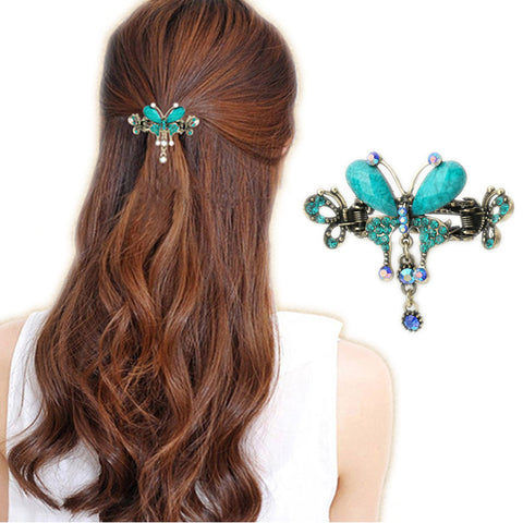 Elegant Women Turquoise Butterfly Flower Hairpins Vintage Hair Barrettes Clip Crystal Butterfly Bow Hair Clip Hair Accessories
