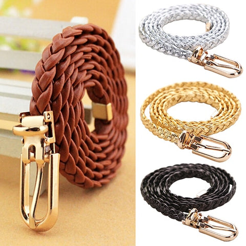 New Women Braided Leather Narrow Thin Buckle Strap Waist Belt All-Match Waistband BDIH