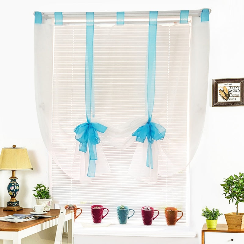 9 Colors Ribbon Roman Curtain Blind Home Wave European Colors Living Room Balcony Voile Panel 1PC