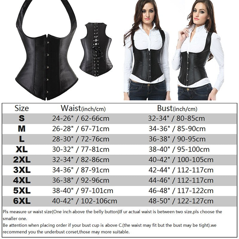 X New Steampunk Steel Boned Lace up Back Sexy Body Bustier Overbust Corset Women Waist Cincher Corsets Black Plus Size S-6XL