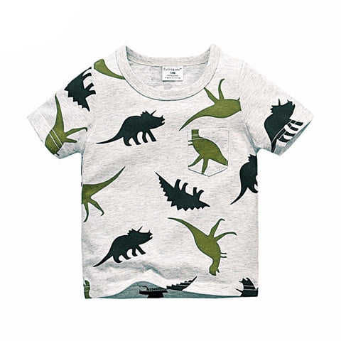 Boys Short Sleeve T Shirts Summer Shirt Kid Baby Children Clothing Captain Anchors dinosaur printed tshirt