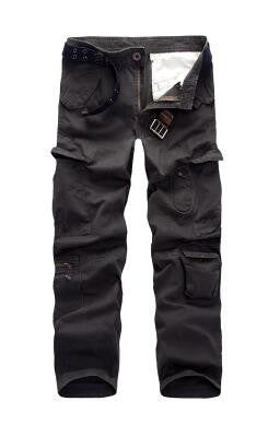 Mens Clothes Casual Male Trousers Overalls Multi Pocket Loose Cotton Washed Straight Men Full Length Pants Size 40
