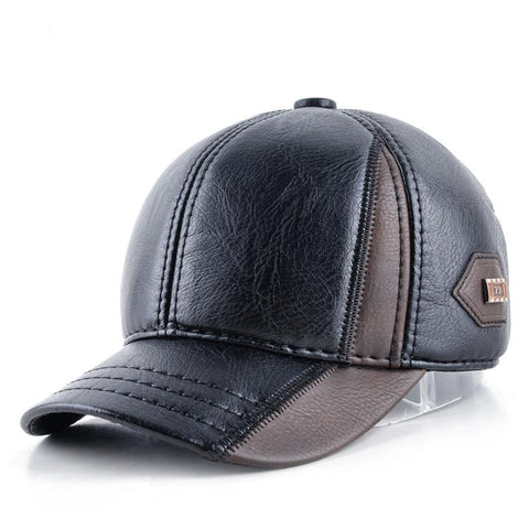 Mens winter leather cap warm patchwork dad hat baseball caps with ear flaps russia adjustable snapback hats for men casquette