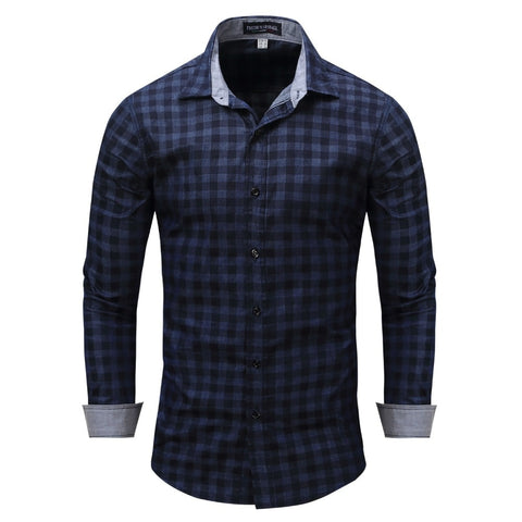 Free Shipping The New Spring Men's Leisure High-Grade Pure Cotton Large Size Lattice Men Long Sleeve Shirt