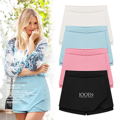summer new European and American Fashion False two Chiffon skirts flanging Cambric slim casual Shorts for womens