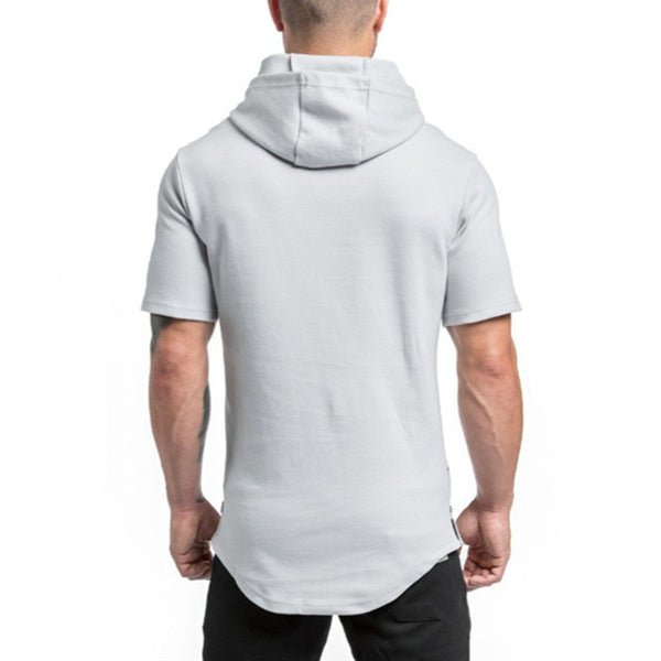 Mens Short Hoodies Fashion pullover leisure coat gyms Fitness bodybuilding jacket Sweatshirt male sportswear clothing