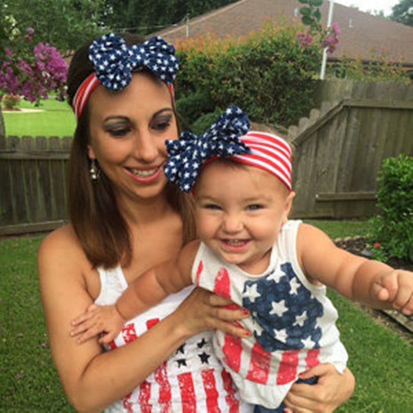 Mom and Me Turban Headband American Flag 4th of July Girls and Mommy Headwrap Gifts1Set 2pcs/lot
