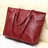 new fashion casual glossy alligator totes large capacity ladies simple shopping handbag PU leather shoulder bags