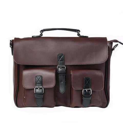 Crazy Horse PU Leather Men's Briefcase Vintage Men Messenger Bags shoulder bag Men Business Handbags Contract Bags Laptop Bag