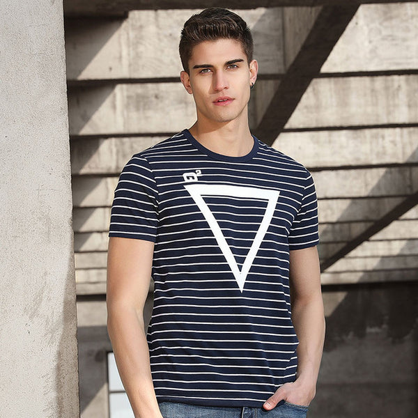 Pioneer Camp new design striped T shirt men brand clothing fashion geometry pattern T-shirt male quality striped Tees  ADT701055