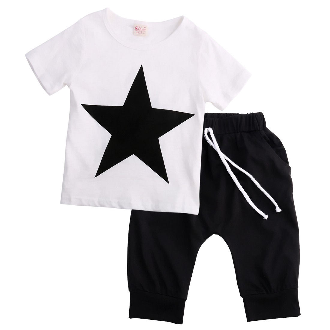 2pcs Boys summer outfits 2pcs baby cotton summer Tee short pants cool star