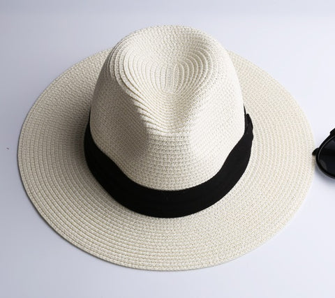 Summer fashion white flat brim wide brim women's straw hat women's jazz fedoras hat sun-shading hat beach cap summer