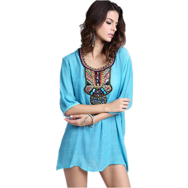 Spring Summer Blouse Shirt Fashion Embroidery XXXL Woman Clothes Female Blusa Feminina Casual Vintage Shirt Women Tops Tee