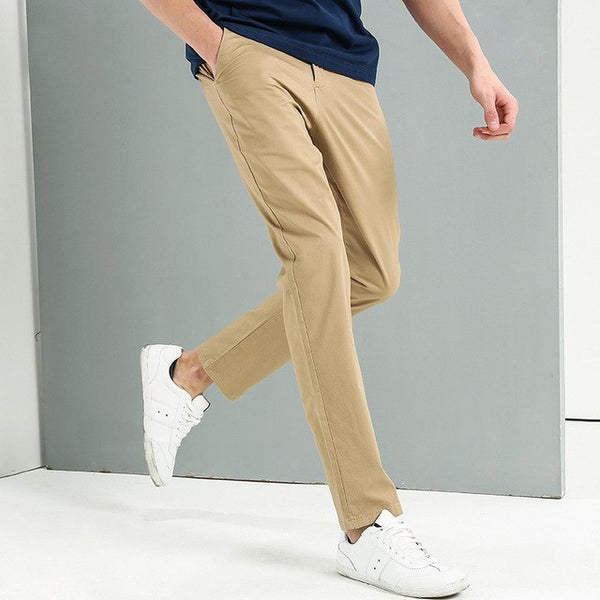 New Khaki casual pants men brand clothing fashion simple trousers male top quality elastic slim fit pants AXX705076