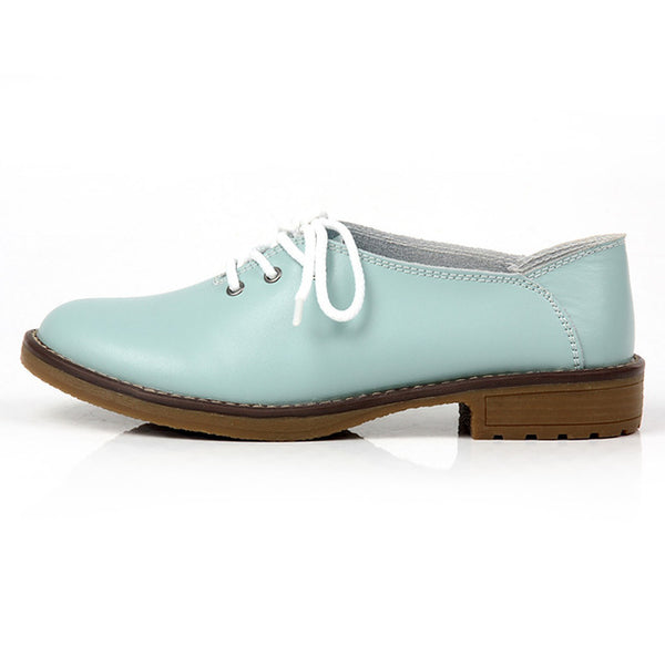 Genuine Leather Oxford Shoes Women Flats Fashion Women Shoes Casual Loafers Ladies Shoes