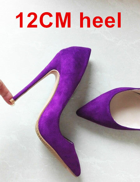 Womens Shoes High Heels 12CM High Heels Purple Shoes Pumps Women Heels Sexy Pointed Toe Wedding Shoes For Woman B-0049
