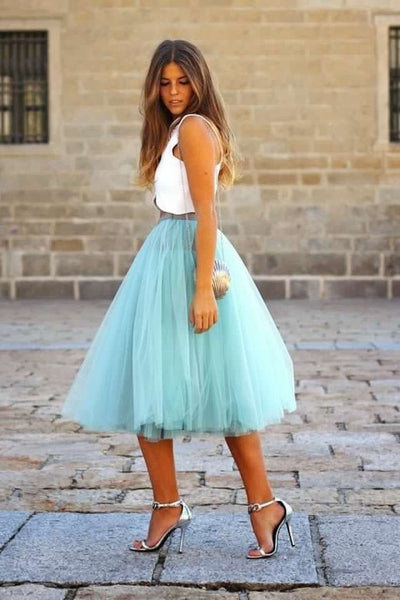 Two Pieces Party Dresses Cheap Draped Tulle Satin Knee Length Short Prom Dress With Detachable Tutu Skirt