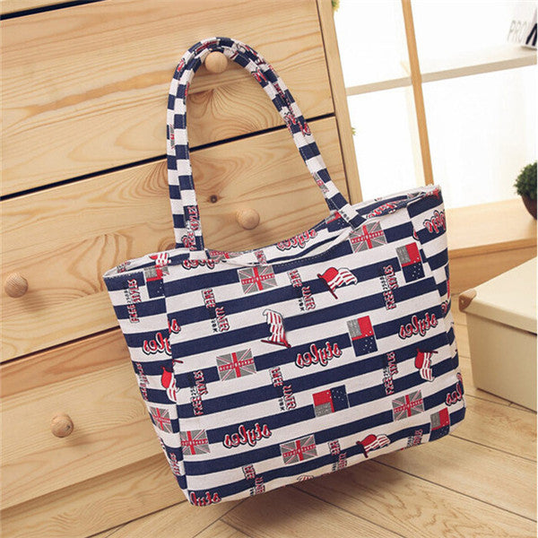 Waterproof Canvas Casual Zipper Shopping Bag Large Tote Women Handbags Floral Printed Ladies Single Shoulder Beach Bag