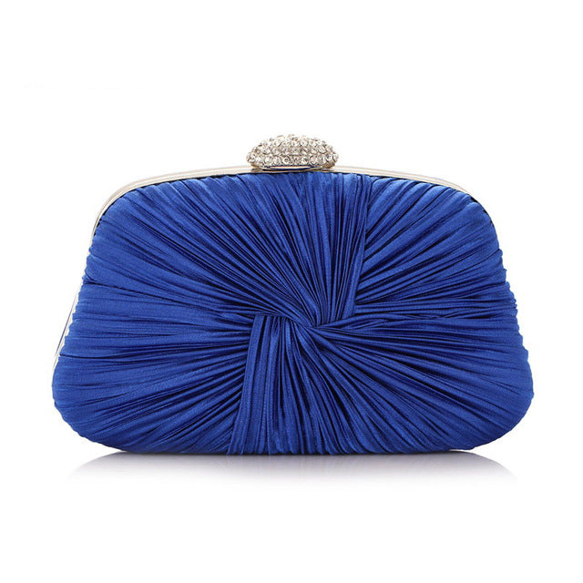 Women Pleated Evening Hand Bag Blue Crystal Dressed Clutch Bags Wedding Party Chain Purse Small Handbag Mini Day Clutches