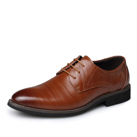 Business Men's Basic Flat Shoes Leather Gentle Wedding Dress Shoes Formal Wearing Shoes British Men Casual shoes Big Size