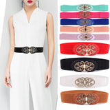 Women Retro Gold Floral Buckle Stretch Belt Thin Skinny Elastic Waist Band BLTYN0006