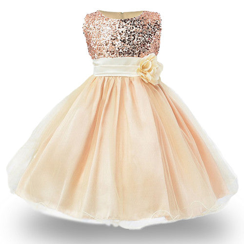 2017 New Kids Girls Wedding Flower Girl Dress Princess Party Pageant Formal Dress Sleeveless Dress 3-14 year wear