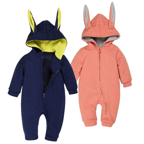 Baby Toddler Rompers Long Rabbit Ears Hooded Jumpsuits Cotton Fleece Warm Costumes Newborn Baby Clothes Autumn Winter Outerwear