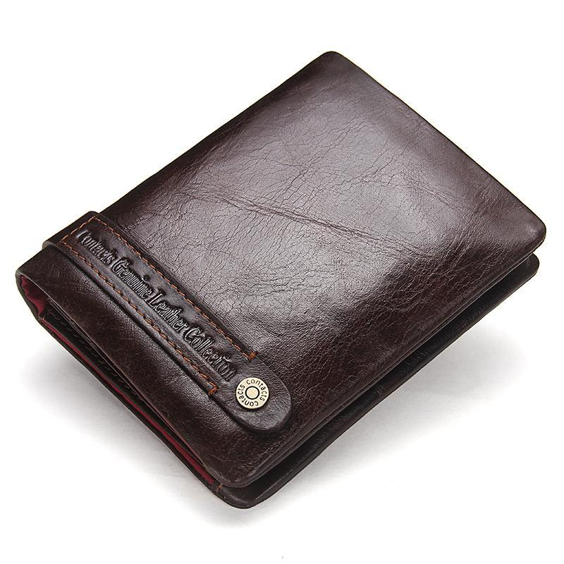 Men's Wallets Genuine Leather Wallet Card Holder Coin Pockets Purse Wallets Dark Brown Classic Men Wallet 2017