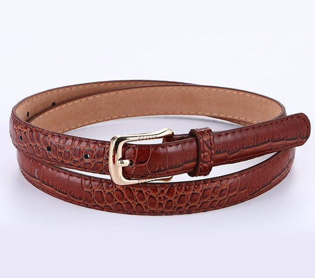 Crocodile Genuine Leather Belt For Women Newest Fashion gold Pin Buckle popular lady Belts thin strap gifts female for jeans