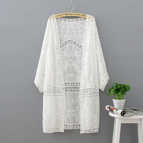 Crochet in the long paragraph lace embroidered beach skirt bikini outside the blouse sunscreen thin cardigan jacket female