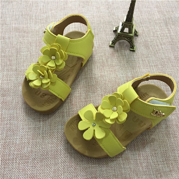 Summer Kids Baby Children Sandals Shoes Fashion PU Leather With Flowers Sweet Soft Bottom Girls Princess Sandals