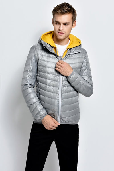Winter new men and stand-collar ultra-thin down jacket in the young large size fertilizer Hooded down jacket YF179